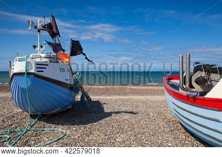 Stenbjerg,denmark-august 15,2018: Stenbjerg Is A Fishing Village On The Former Island Of Thy In The