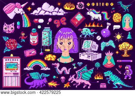 Pixel Art 8 Bit Objects. Retro Digital Game Assets. Set Of Pink Fashion Icons. Vintage Stickers For
