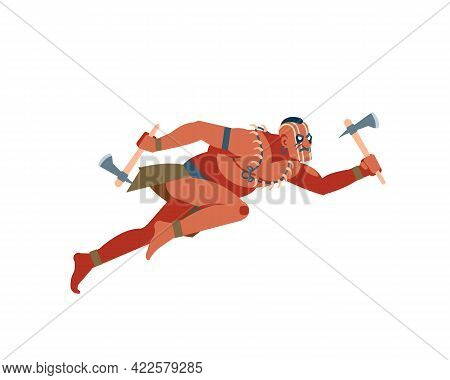 Apache Indian Native American Warrior Or Brave Leaping Toward And Attacking With A Tomahawk. Vector