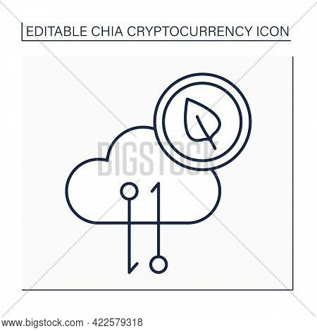 Chia Network Traffic Line Icon. Decentralized Blockchain-based Platform Created For Developing And E