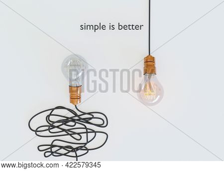 Light Bulb With Tangled Wire Off And One With Single Wire On. Simple Is Better. Easy Way. Concepts.
