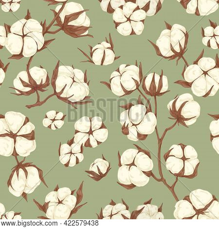 Seamless Repeating Botanical Pattern With Soft Cotton Flower Branches. Endless Floral Background For