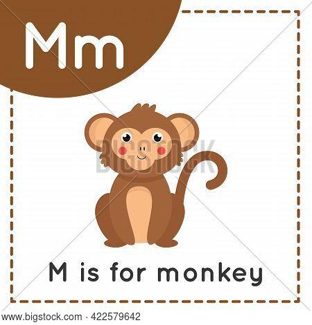 Animal Alphabet Flashcard For Children. Learning Letter M. M Is For Monkey.