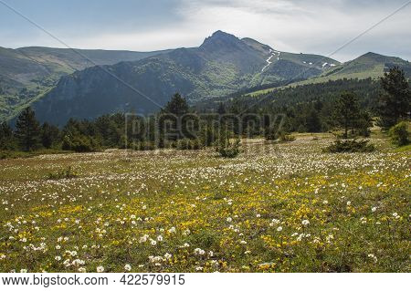 Panoramic View Of Frontignano, A Mountain Tourist Resort In The National Park Of Monti Sibillini, Ma