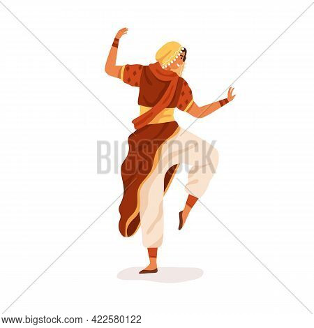 Young Happy Indian Dancer Performing Traditional Folk Dance. Woman Dancing In Ethnic National Clothe