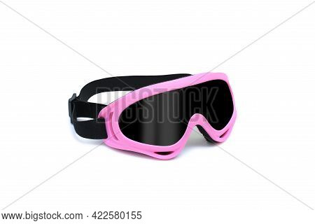 Protective Spectacles Or Safety Glasses Isolated On White Background. Plastic Protective Work Glasse
