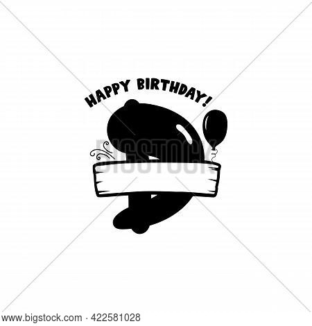 Initial Birthday D Letter. Happy Birthday Monogram Design With Balloons. Alphabet D Template. Stock