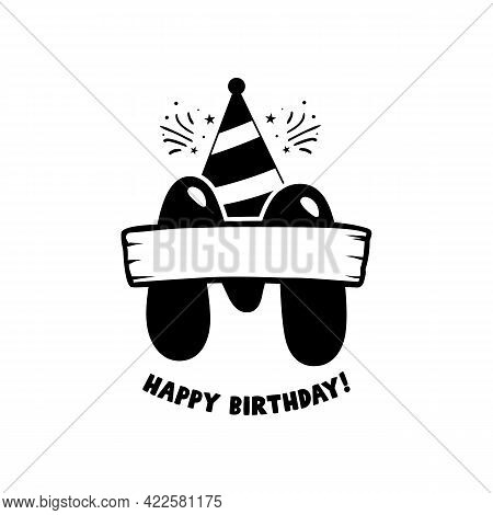 Initial Birthday M Letter. Happy Birthday Monogram Design With Balloons. Alphabet E Template. Stock