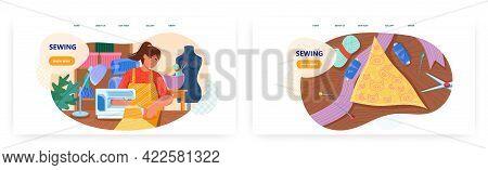 Tailoring Workshop Landing Page Design, Website Banner Vector Template Set. Atelier. Seamstress, Tai