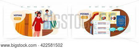 Voting Landing Page Design, Website Banner Vector Template Set. Voter Putting Paper Ballot Into Vote
