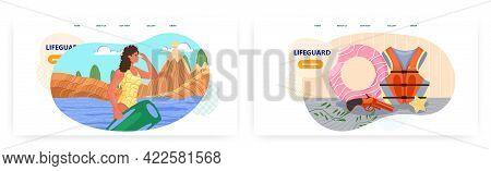 Lifeguard Landing Page Design, Website Banner Vector Template Set. Female Professional Beach Rescuer