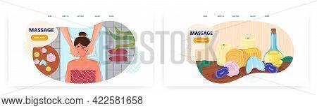 Massage Landing Page Design, Website Banner Vector Template Set. Woman Face Massage, Facial Skin Car