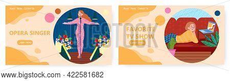 Women Favorite Activities. Landing Page Design, Website Banner Vector Template Set. Watching Tv Show