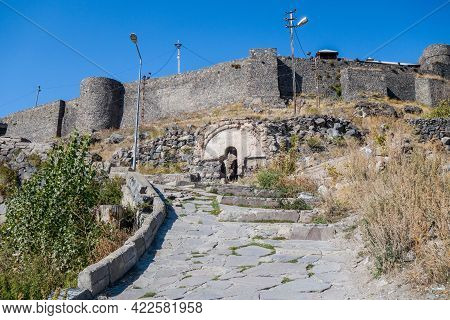 Road & Stairs Leading To Kars Castle Entrance, Ruins Of Some Fortifications, Walls & Towers Of Castl
