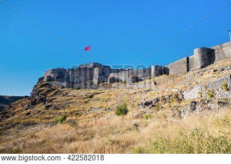 Citadel Of Kars Castle, Kars, Turkey. Surrounding Walls Made From Basalt Bricks. Castle Is Main Tour