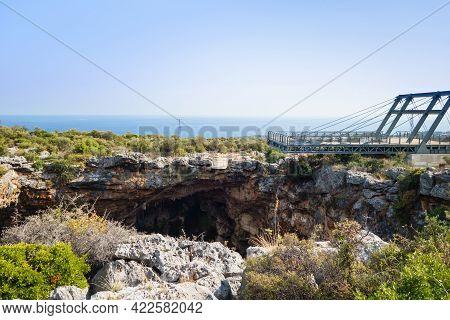 Viewpoint Above Karst Sinkhole Named Cehennem (hell), Kizkalesi, Turkey. It's One Of Deepest Sinkhol
