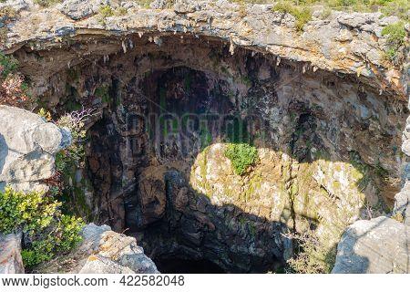 Bluff Walls Of Karst Sinkhole Cehennem (hell), Kizkalesi, Turkey. It's One Of Deepest Sinkholes In T