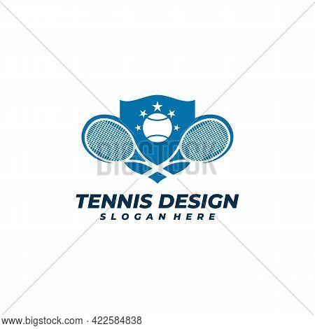 Tennis With Shield Logo Vector Template, Creative Tennis Logo Design Concepts
