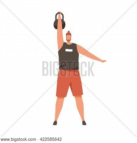 Strong Man Training With Heavy Kettlebell, Lifting It Up With Hand. Athlete Working Out With Added W