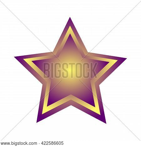 Purple Star With Yellow Ornament And Transparent Background, Commercial Icon, Winner Star
