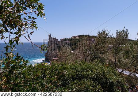 Rough Sea With Waves Crashing Against Cliffs In Crimea, Black Sea, View From Yalta, Swallow\'s Nest