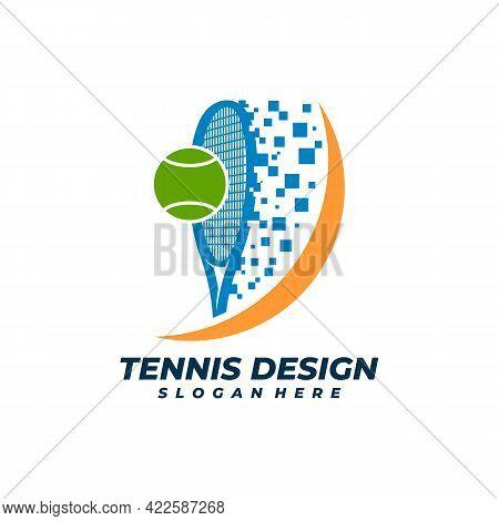Pixel Tennis Logo Vector Template, Creative Tennis Logo Design Concepts