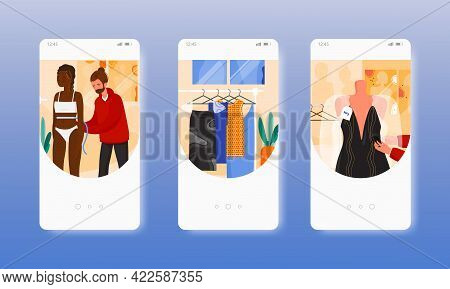 Fitting Room. Fashion Industry, Show Business. Mobile App Screens, Vector Website Banner Template. U