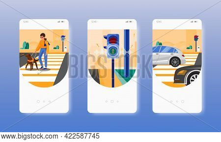 Crosswalk. Blind Woman With Cane And Guide Dog. Mobile App Screens, Vector Website Banner Template.