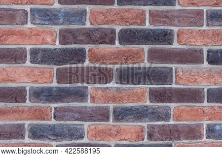 Clinker Brick Wall. Brickwork In The Middle. Background Image For Design