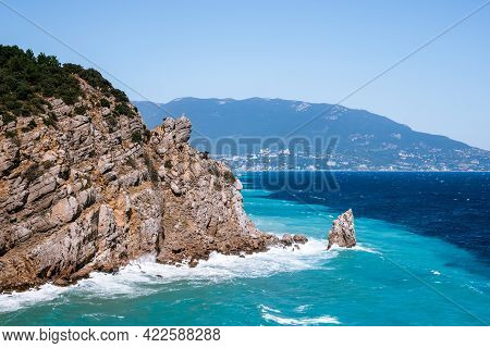 Rough Sea With Waves Crashing Against Cliffs In Crimea, Black Sea, View From Yalta, Swallow's Nest