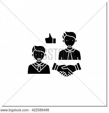 Respectfulness Glyph Icon. Respect Between Communicators.strong Personality.perfect Interlocutor. Ef