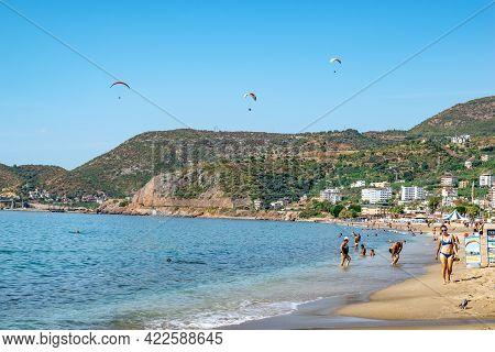 Alanya, Turkey - October 23, 2020: Summer Tropical Landscape At Kleopatra Beach In Alanya. People Sw