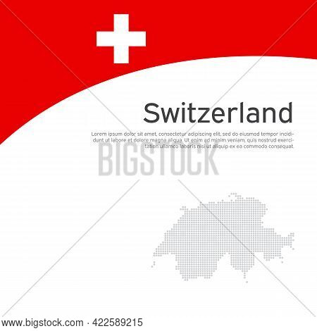 Abstract Switzerland Flag, Mosaic Map. Creative Background For Design Of Patriotic Swiss Holiday Car