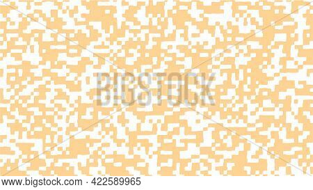 Abstract Square Pixel Background In White And Orange Color. Vector Illustration.