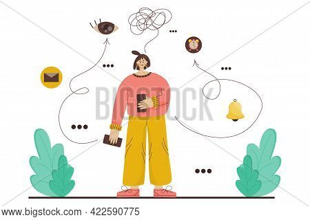 Fomo Concept. Girl With Phone Both Hands Afraid Of Missing Important Information. Girl Is Standing N