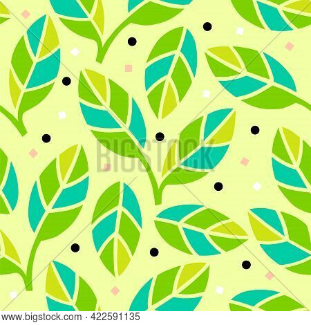 Vector Seamless Pattern With Green Bay Leaves Twigs, Himalayan Salt, Black Peppercorns. Culinary Set