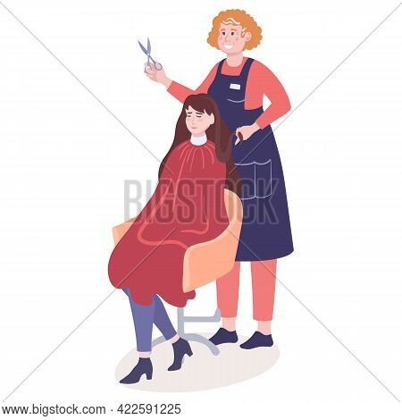 Woman Hairdresser Is Haircutting Girl Client, Who Sitting In Chair