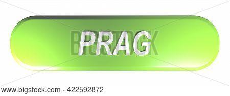 Prag Green Rounded Rectangle Push Button - 3d Rendering Illustration