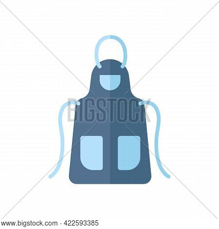 Beautiful Blue Home Kitchen Apron With Two Pockets. Pinafore For Working In Kitchen. Cooking Dress F