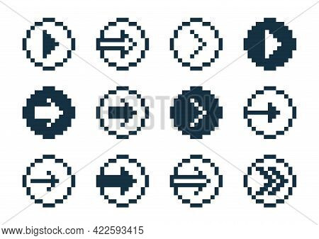 8 Bit Pixel Arrows In Circles Vector Set Of Icons, Collection Of Arrow Direction Cursors In Old Pc O