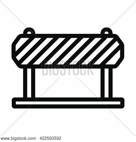Icon Of Construction Fence. Editable Bold Outline Design. Vector Illustration.