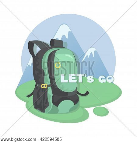 Mountain Tourism. Vector Travel Backpack. Icon, Ermblem. Invitation Will Go To The Mountains.