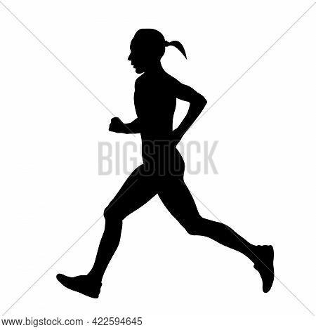 Female Runner Running Marathon Race Black Silhouette