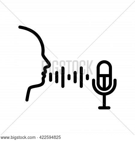 Biometric Flat Line Icon. Vector Outline Illustration Of Voice Recognition. Black Color Thin Linear