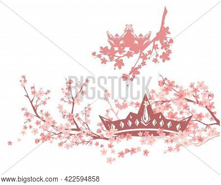 Royal Crown Among Blooming Cherry Tree Branches - Spring Season Princess Tiara Vector Design Set