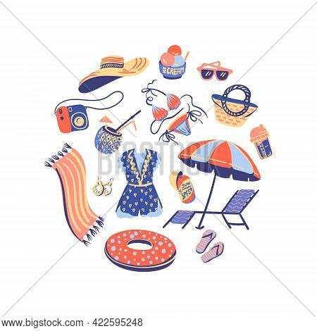 Vector Summertime Handdrawn Clipart. Hand Drawn Summer Beach Related Objects White Background. Circl