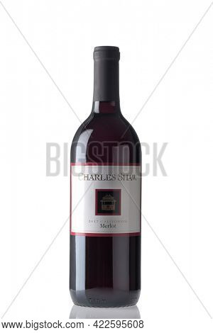 IRVINE, CALIFORNIA - 2 JUN 2021: A bottle of Charles Shaw Merlot, Trader Joes private label bargain wine.