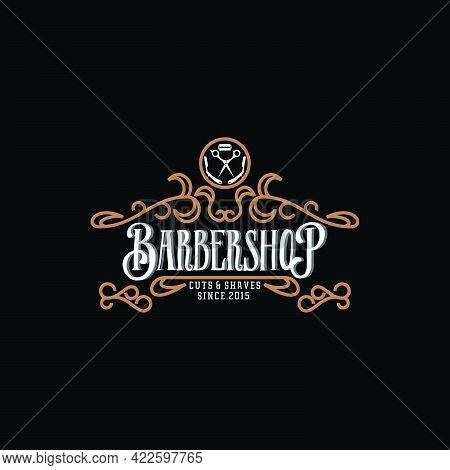 Vintage Barbershop Logo Design On Dark Background,luxury Logo Hairdressing Vector Template