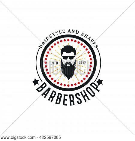 Vintage Barbershop Logo For Hairdressing Salon Vector Template