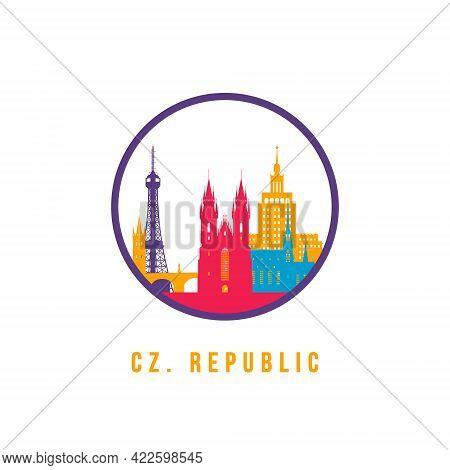 Famous Austria Landmarks Silhouette. Colorful Austria Skyline Round Icon. Vector Template For Postma